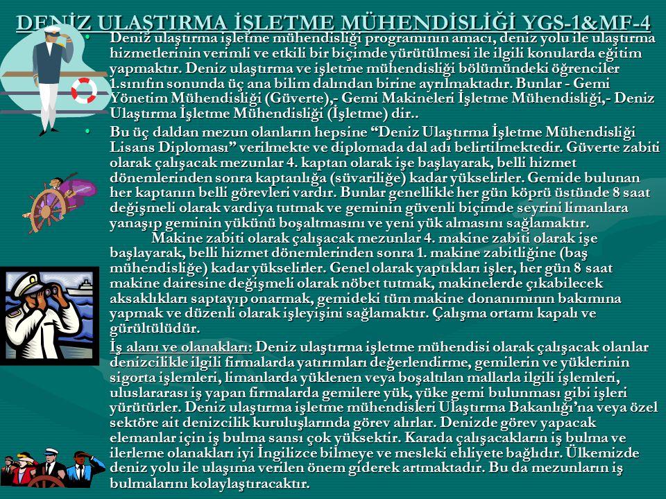 DENİZ ULAŞTIRMA İŞLETME MÜHENDİSLİĞİ YGS-1&MF-4