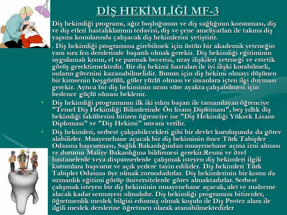 DİŞ HEKİMLİĞİ MF-3