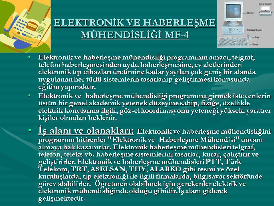 ELEKTRONİK VE HABERLEŞME MÜHENDİSLİĞİ MF-4