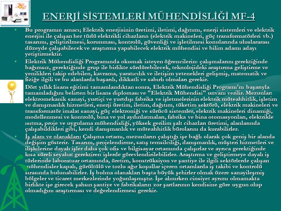 ENERJİ SİSTEMLERİ MÜHENDİSLİĞİ MF-4