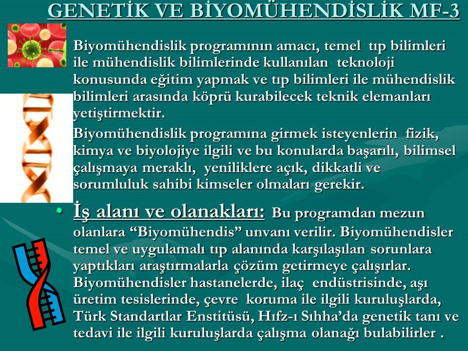 GENETİK VE BİYOMÜHENDİSLİK MF-3