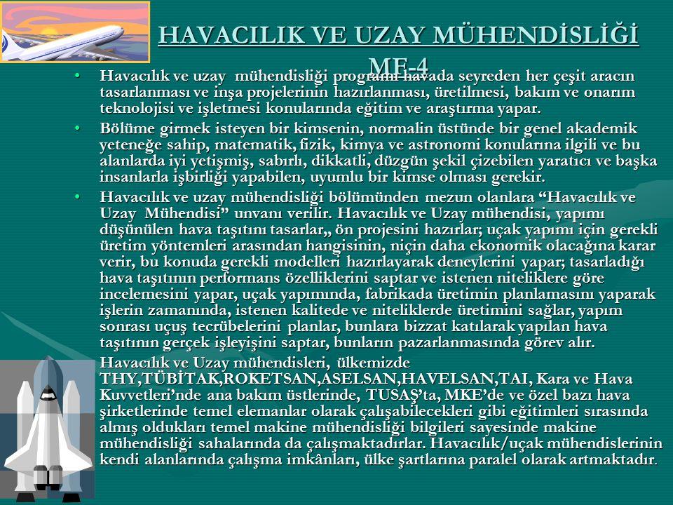 HAVACILIK VE UZAY MÜHENDİSLİĞİ MF-4