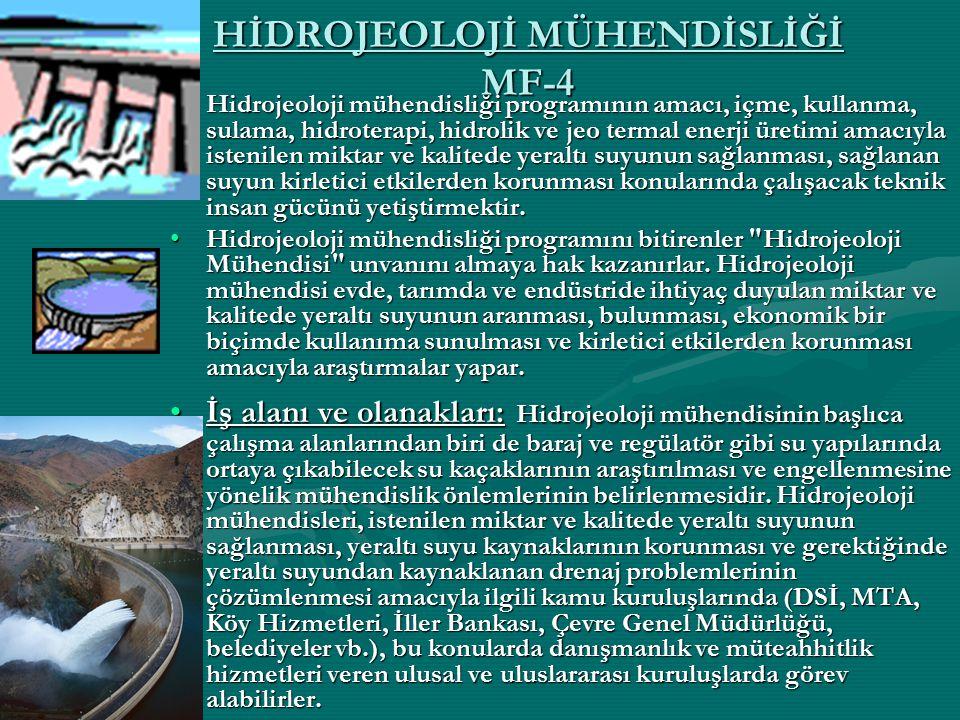 HİDROJEOLOJİ MÜHENDİSLİĞİ MF-4