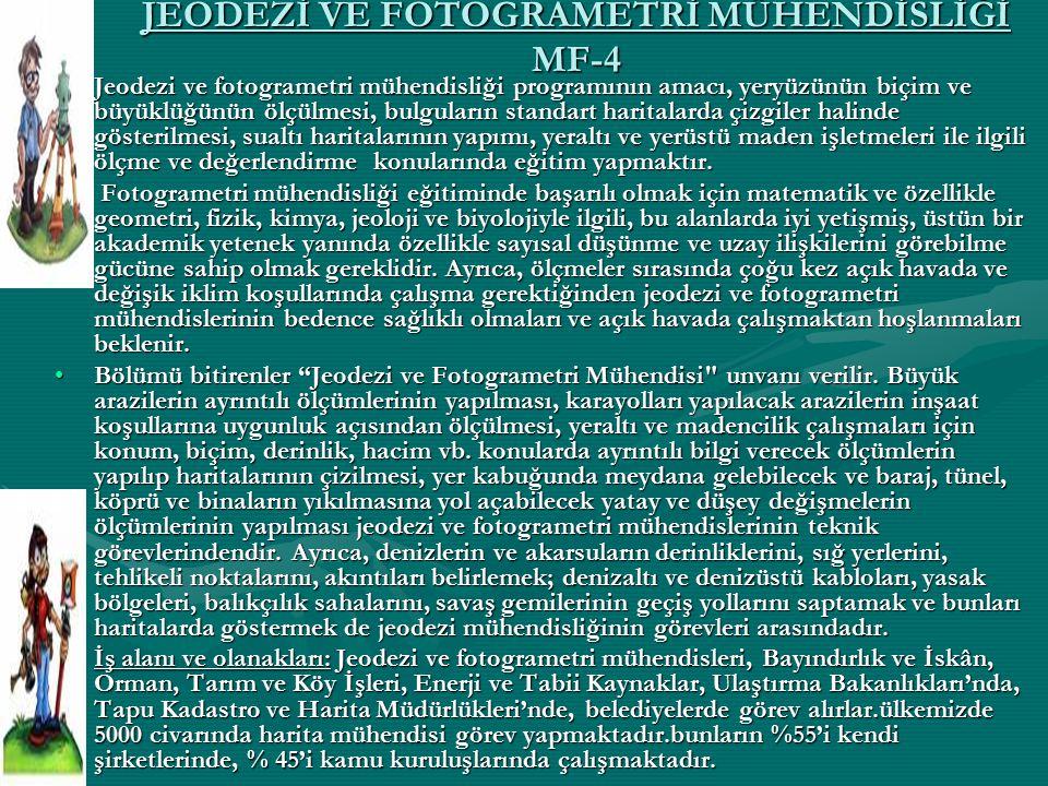 JEODEZİ VE FOTOGRAMETRİ MÜHENDİSLİĞİ MF-4