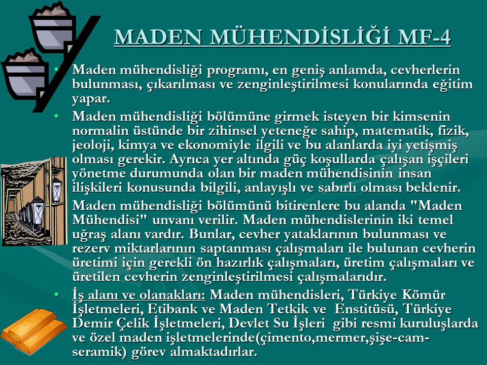 MADEN MÜHENDİSLİĞİ MF-4