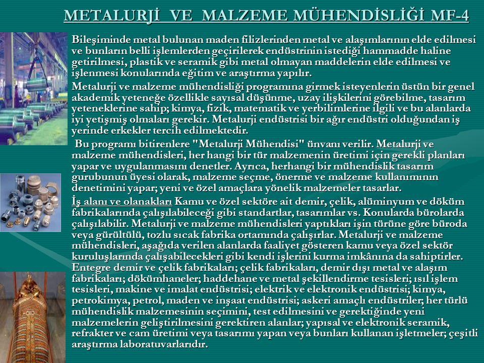METALURJİ VE MALZEME MÜHENDİSLİĞİ MF-4