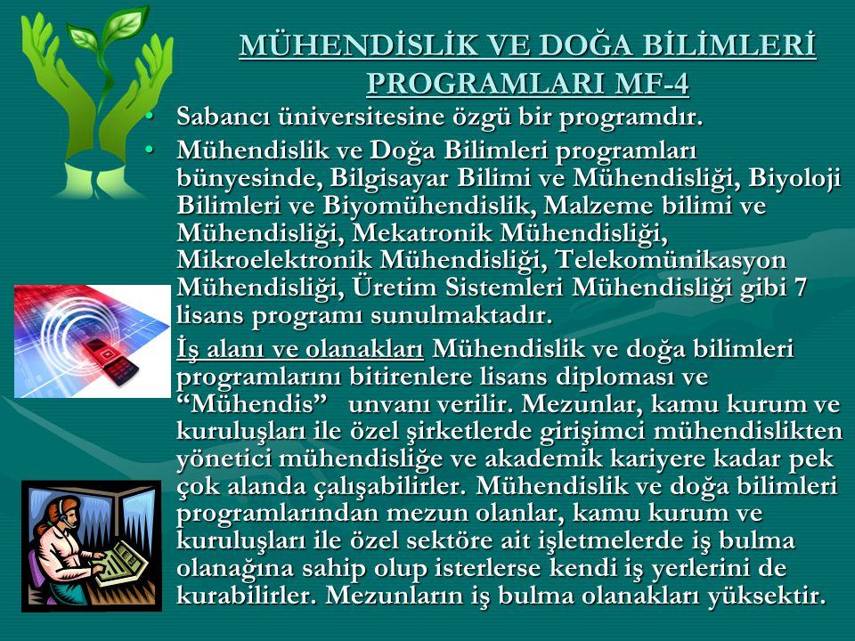 MÜHENDİSLİK VE DOĞA BİLİMLERİ PROGRAMLARI MF-4