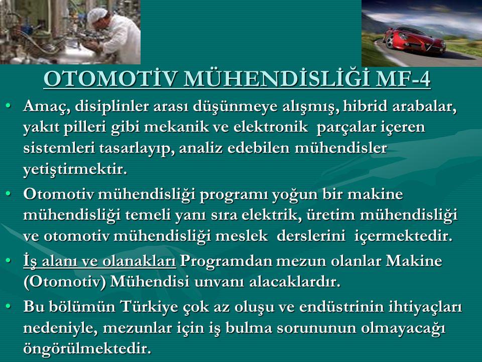 OTOMOTİV MÜHENDİSLİĞİ MF-4