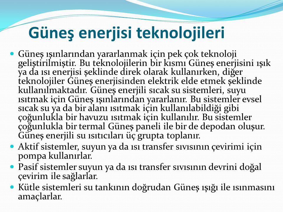 Güneş enerjisi teknolojileri
