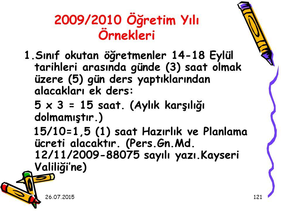 2009/2010 Öğretim Yılı Örnekleri
