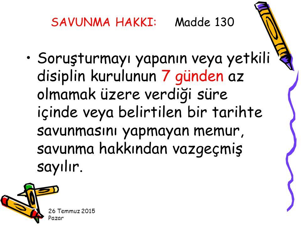 SAVUNMA HAKKI: Madde 130