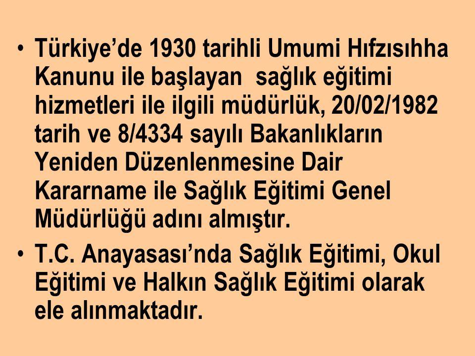 Türkiye'de 1930 tarihli Umumi Hıfzısıhha Kanunu ile başlayan sağlık eğitimi hizmetleri ile ilgili müdürlük, 20/02/1982 tarih ve 8/4334 sayılı Bakanlıkların Yeniden Düzenlenmesine Dair Kararname ile Sağlık Eğitimi Genel Müdürlüğü adını almıştır.