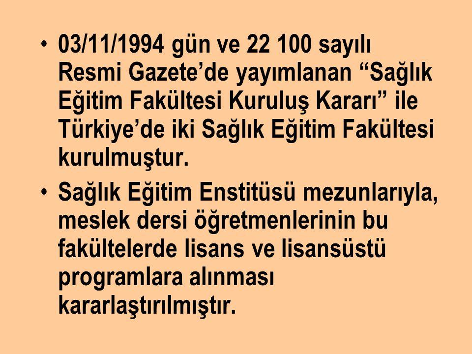 03/11/1994 gün ve 22 100 sayılı Resmi Gazete'de yayımlanan Sağlık Eğitim Fakültesi Kuruluş Kararı ile Türkiye'de iki Sağlık Eğitim Fakültesi kurulmuştur.