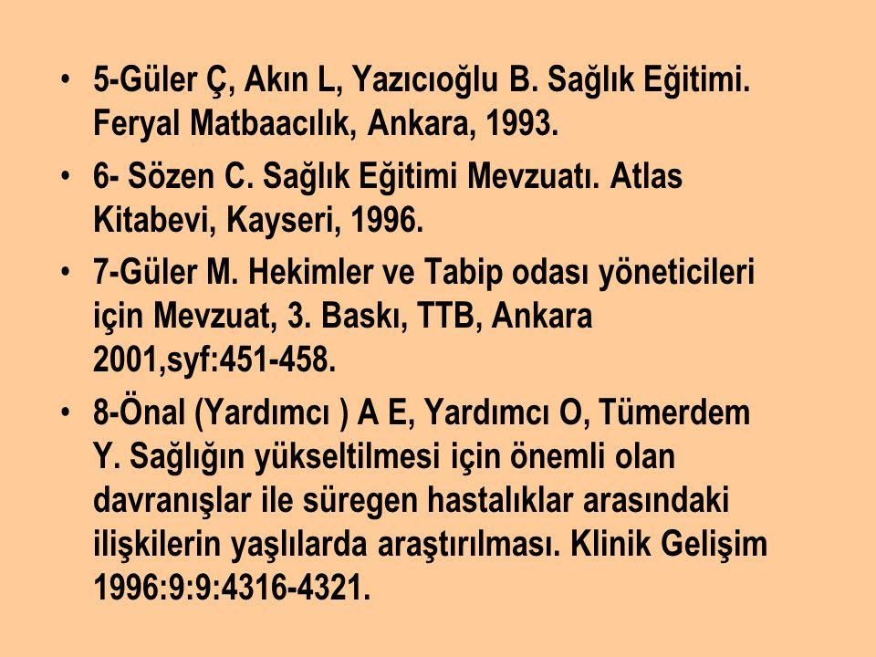 5-Güler Ç, Akın L, Yazıcıoğlu B. Sağlık Eğitimi