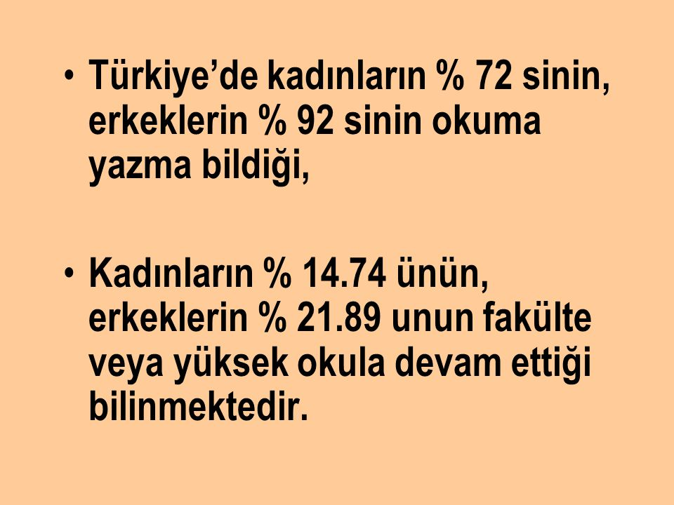 Türkiye'de kadınların % 72 sinin, erkeklerin % 92 sinin okuma yazma bildiği,