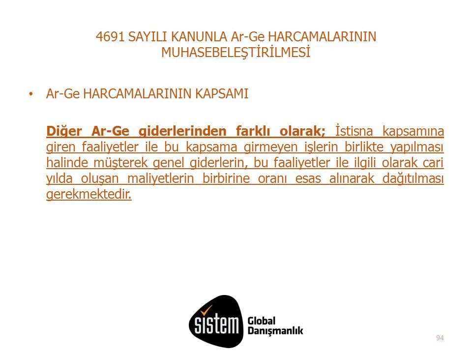 4691 SAYILI KANUNLA Ar-Ge HARCAMALARININ MUHASEBELEŞTİRİLMESİ