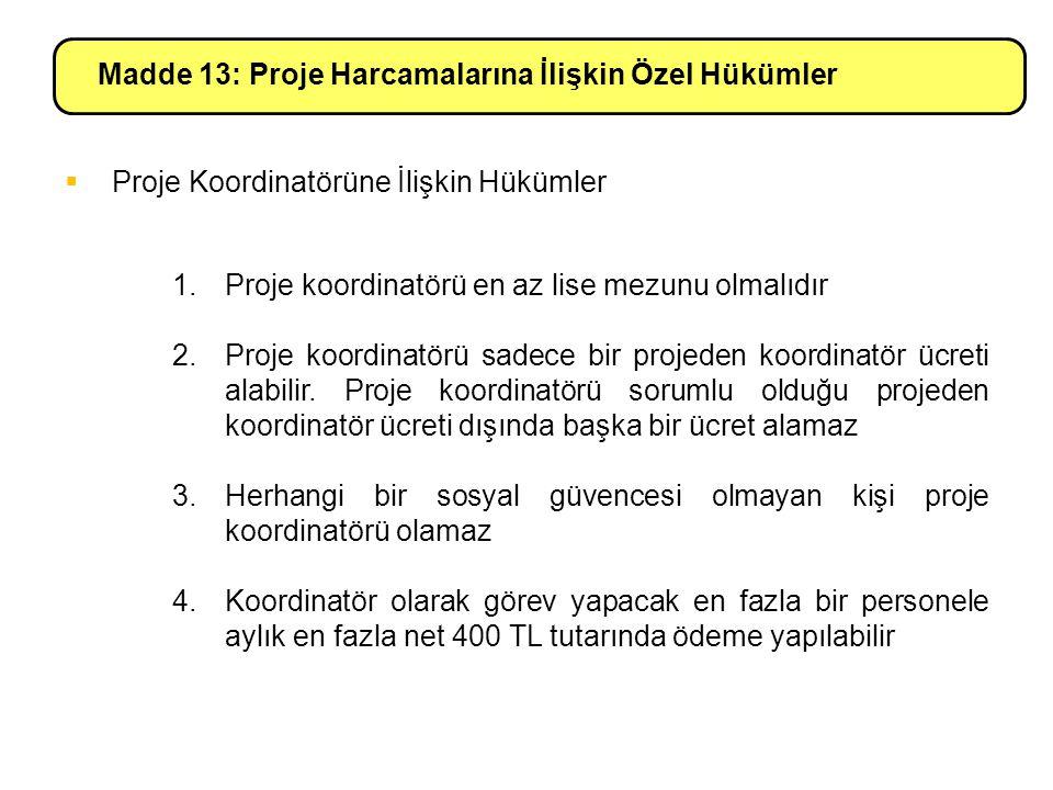 Madde 13: Proje Harcamalarına İlişkin Özel Hükümler