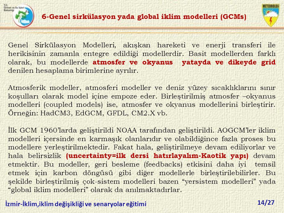 6-Genel sirkülasyon yada global iklim modelleri (GCMs)