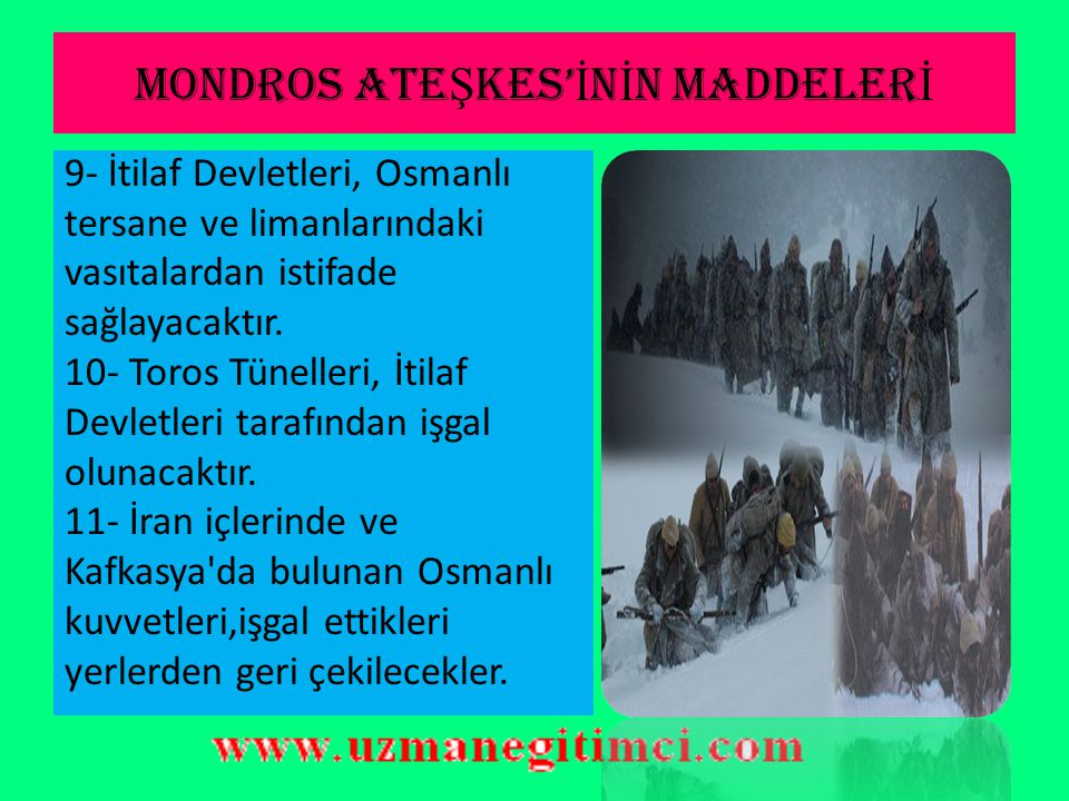 MONDROS ATEŞKES'İNİN MADDELERİ