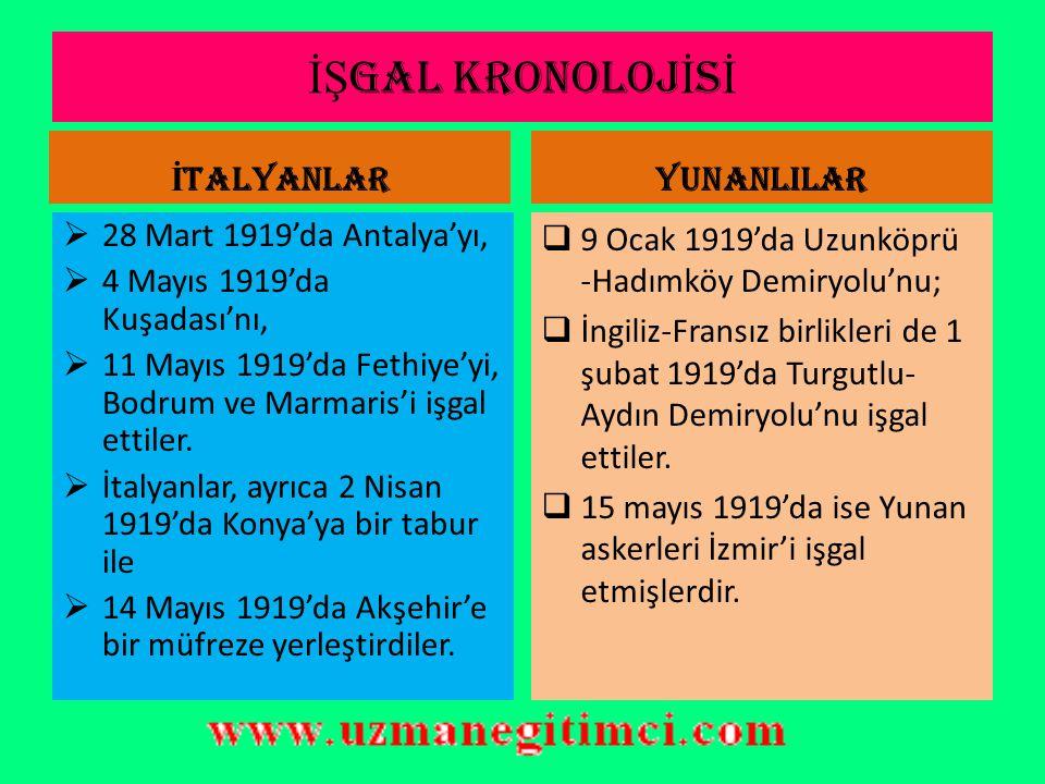 İŞGAL KRONOLOJİSİ İTALYANLAR YUNANLILAR 28 Mart 1919'da Antalya'yı,