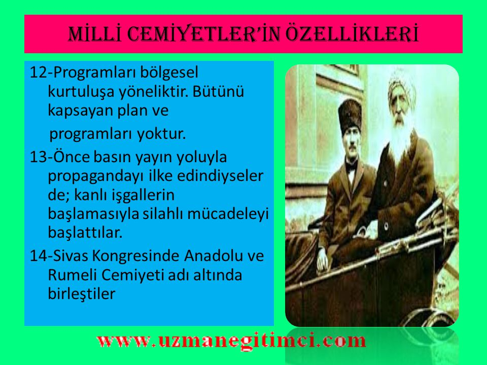MİLLİ CEMİYETLER'İN ÖZELLİKLERİ