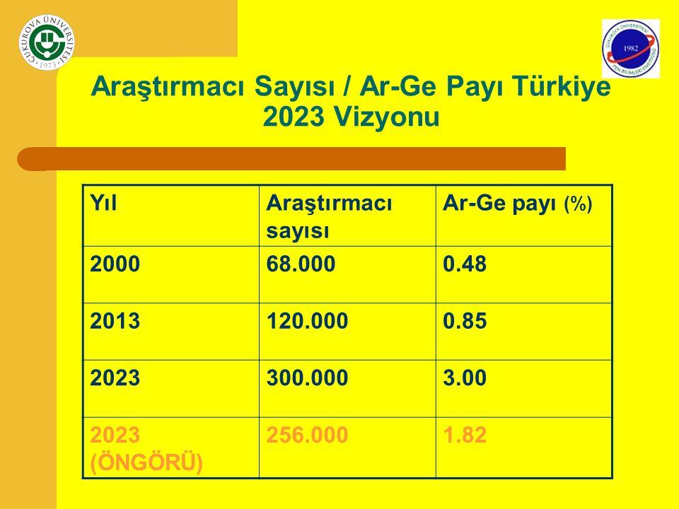 Araştırmacı Sayısı / Ar-Ge Payı Türkiye 2023 Vizyonu
