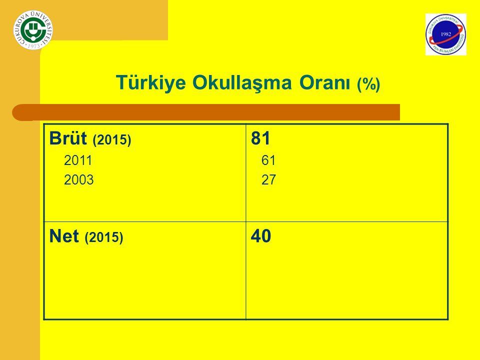 Türkiye Okullaşma Oranı (%)