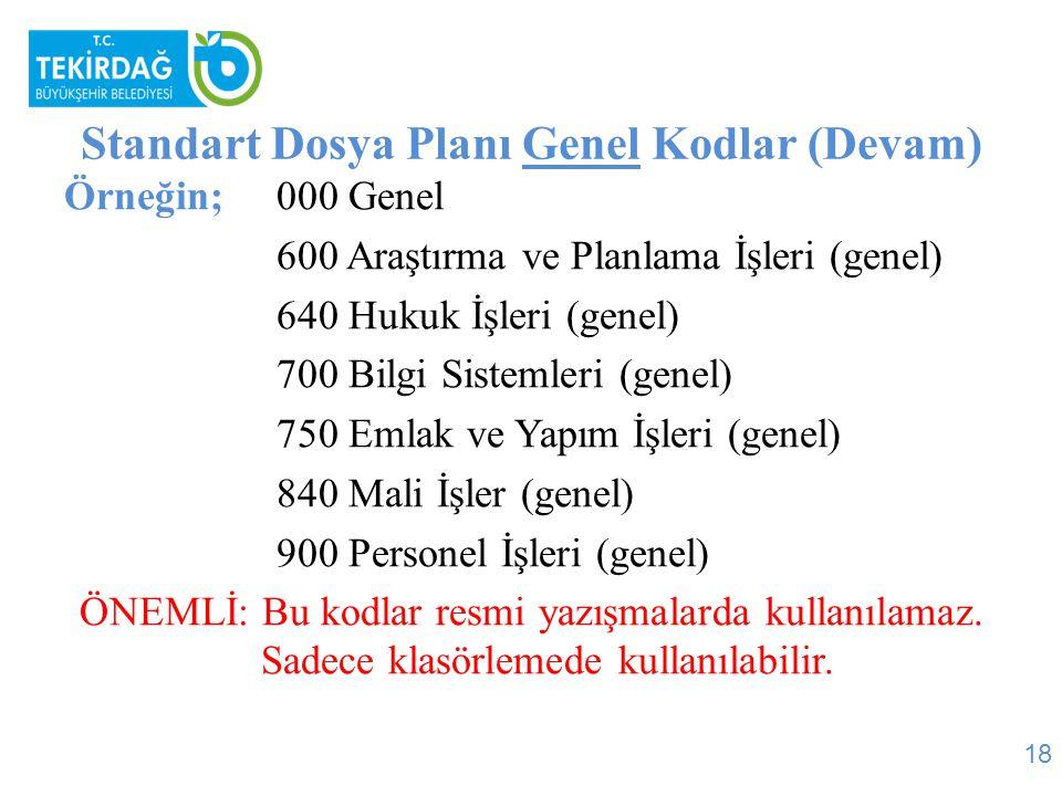 Standart Dosya Planı Genel Kodlar (Devam)