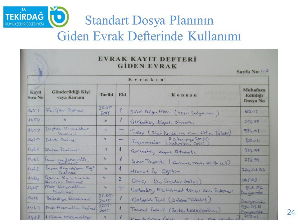 Standart Dosya Planının Giden Evrak Defterinde Kullanımı