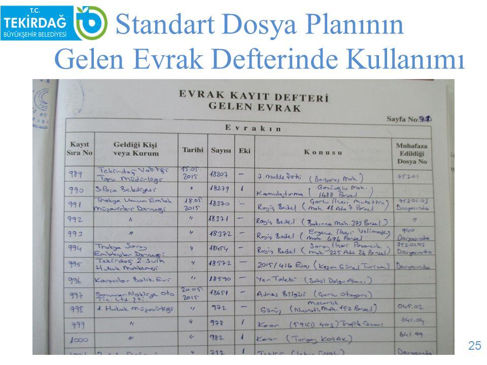 Standart Dosya Planının Gelen Evrak Defterinde Kullanımı