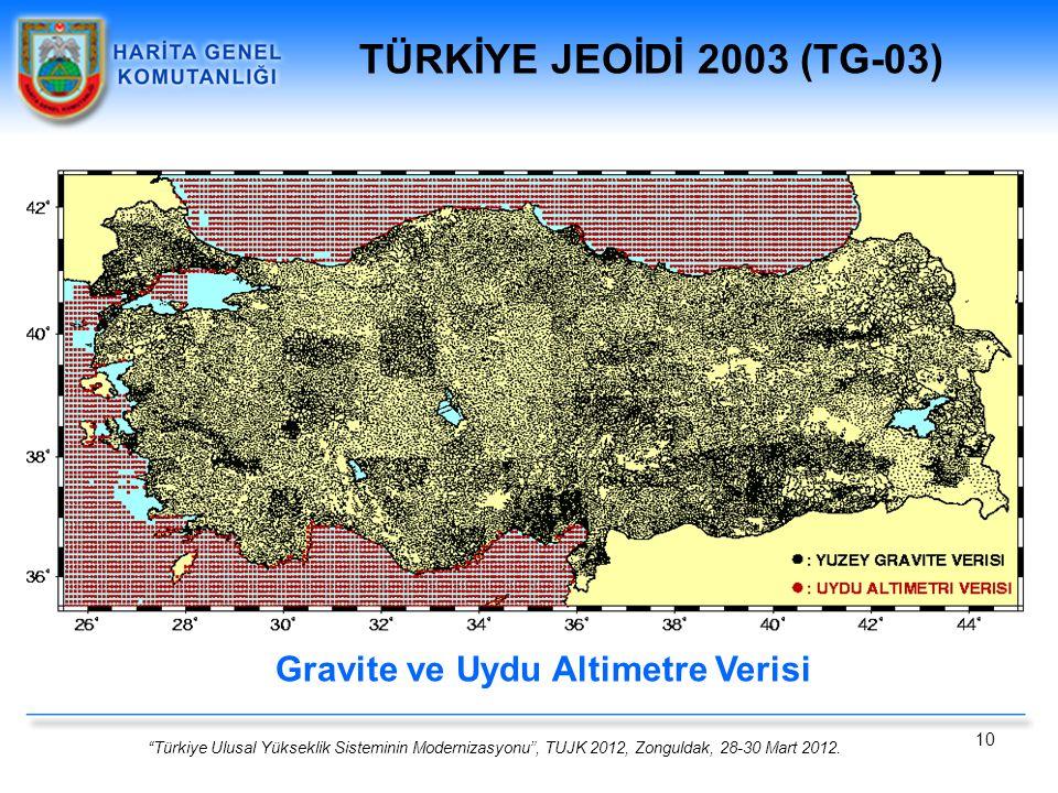 TÜRKİYE JEOİDİ 2003 (TG-03) Gravite ve Uydu Altimetre Verisi