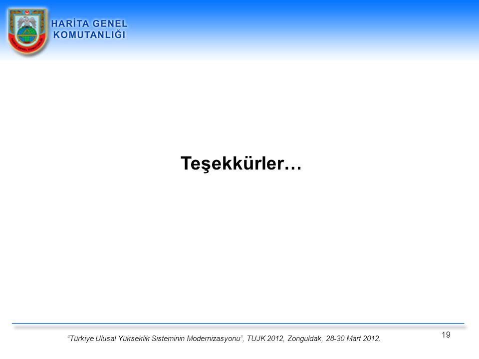 Teşekkürler… Türkiye Ulusal Yükseklik Sisteminin Modernizasyonu , TUJK 2012, Zonguldak, 28-30 Mart 2012.