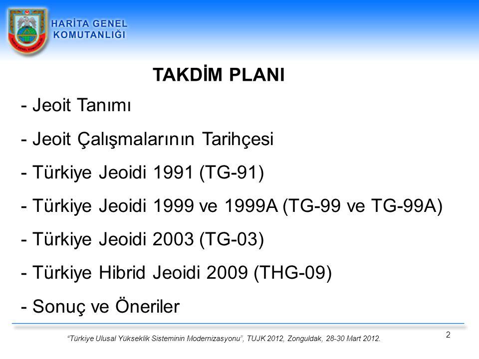 Jeoit Çalışmalarının Tarihçesi Türkiye Jeoidi 1991 (TG-91)