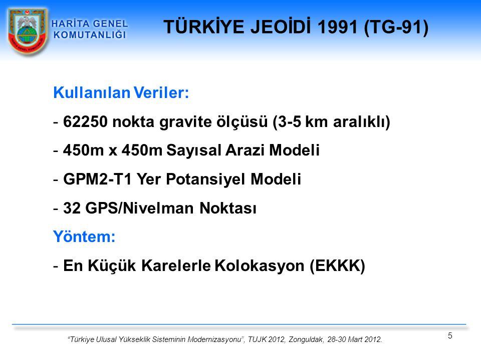 TÜRKİYE JEOİDİ 1991 (TG-91) Kullanılan Veriler: