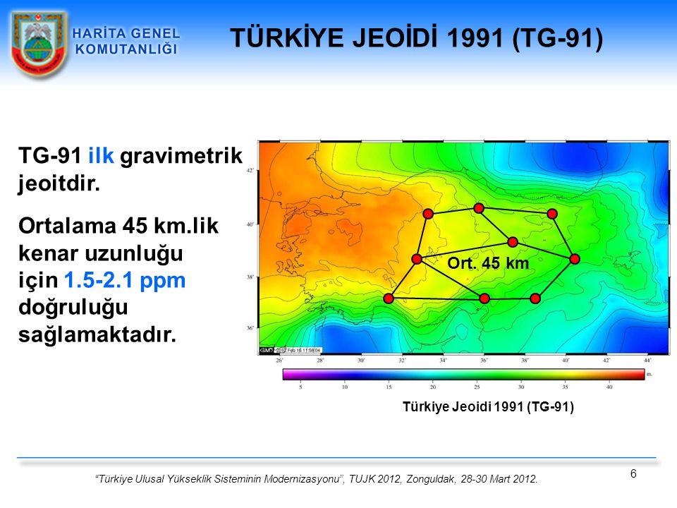 TÜRKİYE JEOİDİ 1991 (TG-91) TG-91 ilk gravimetrik jeoitdir.