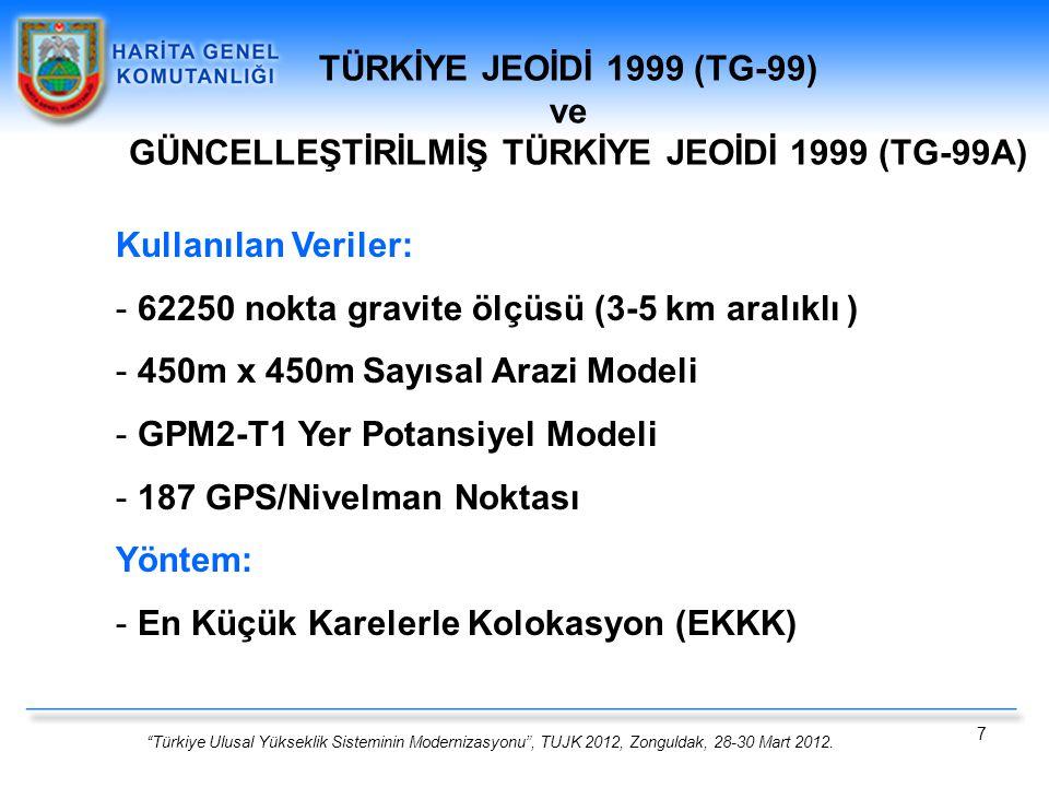 GÜNCELLEŞTİRİLMİŞ TÜRKİYE JEOİDİ 1999 (TG-99A)
