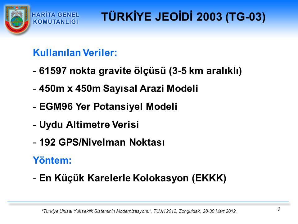TÜRKİYE JEOİDİ 2003 (TG-03) Kullanılan Veriler:
