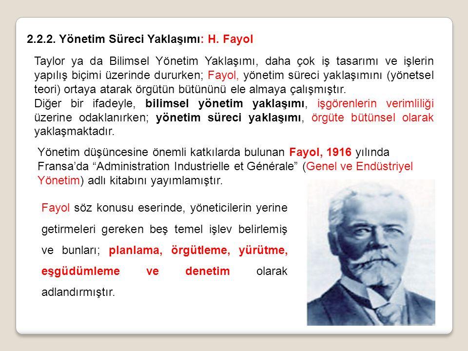 2.2.2. Yönetim Süreci Yaklaşımı: H. Fayol