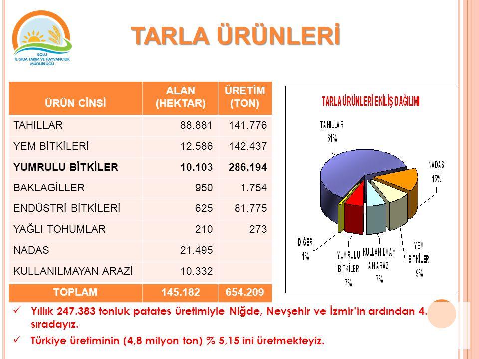TARLA ÜRÜNLERİ ÜRÜN CİNSİ ALAN (HEKTAR) ÜRETİM (TON) TAHILLAR 88.881