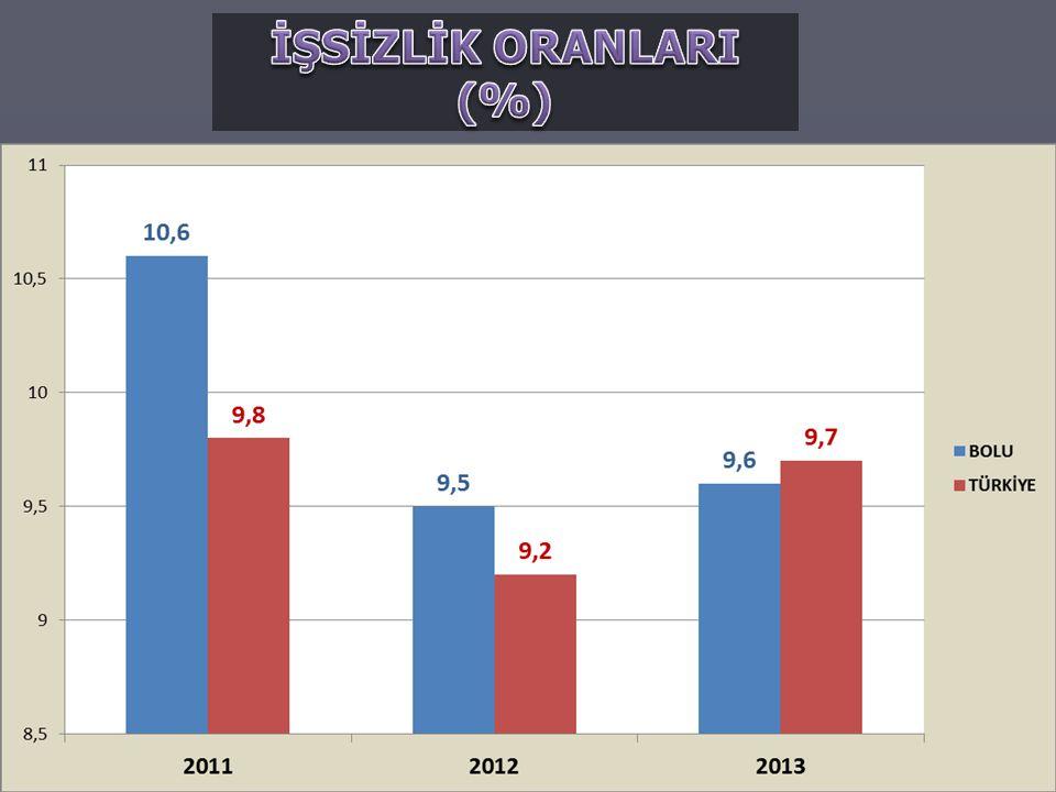 İŞSİZLİK ORANLARI (%)