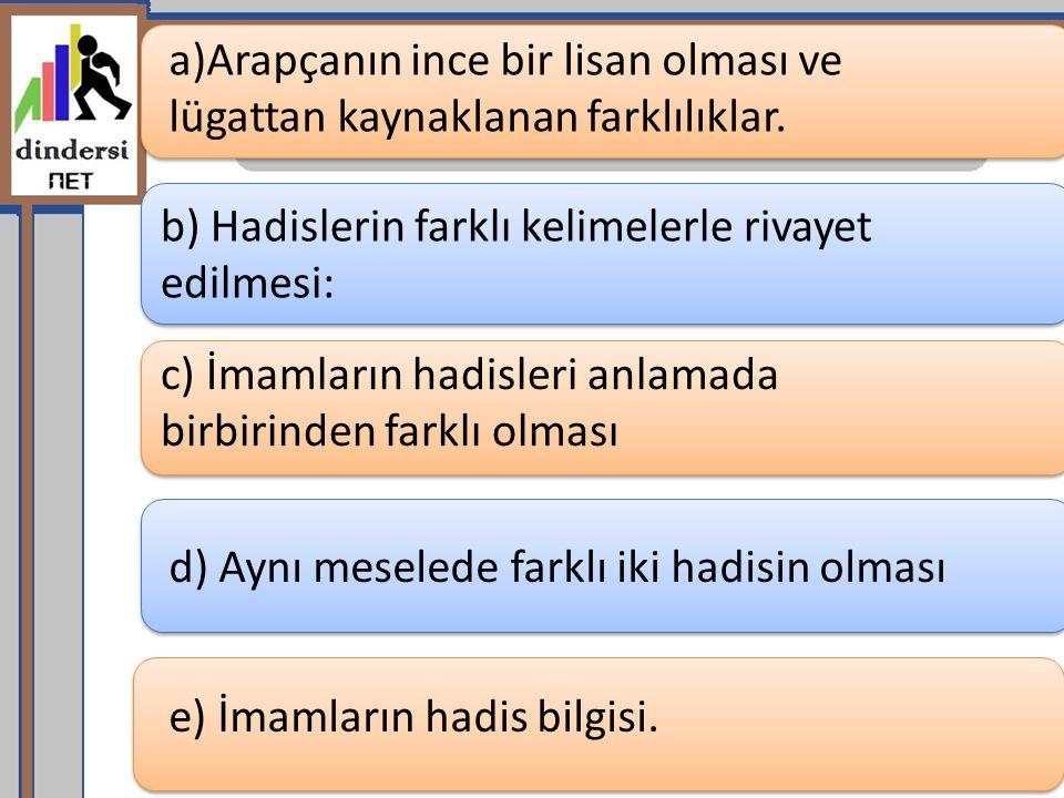 a)Arapçanın ince bir lisan olması ve lügattan kaynaklanan farklılıklar.