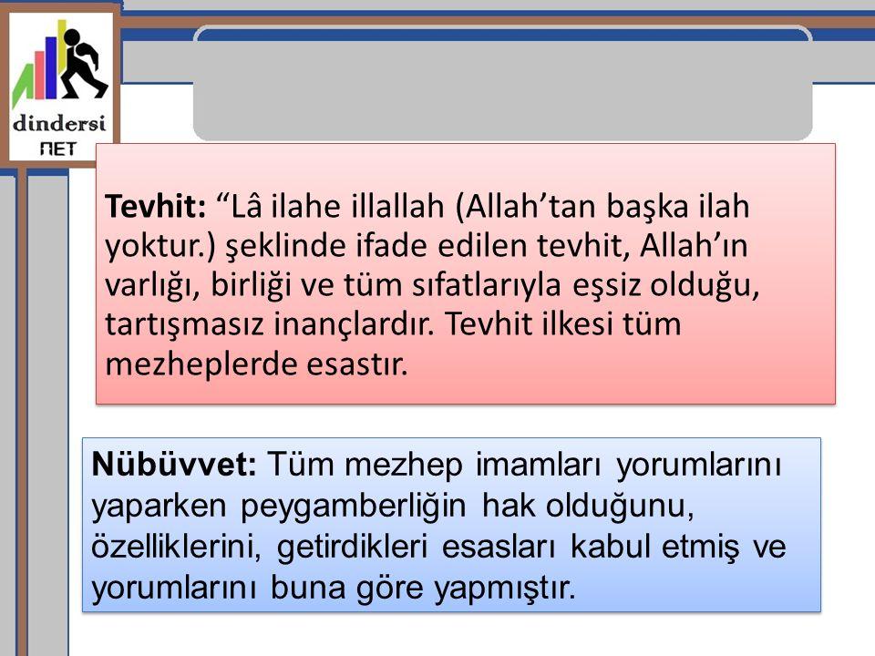 Tevhit: Lâ ilahe illallah (Allah'tan başka ilah yoktur