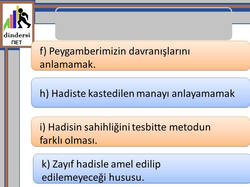 f) Peygamberimizin davranışlarını anlamamak.