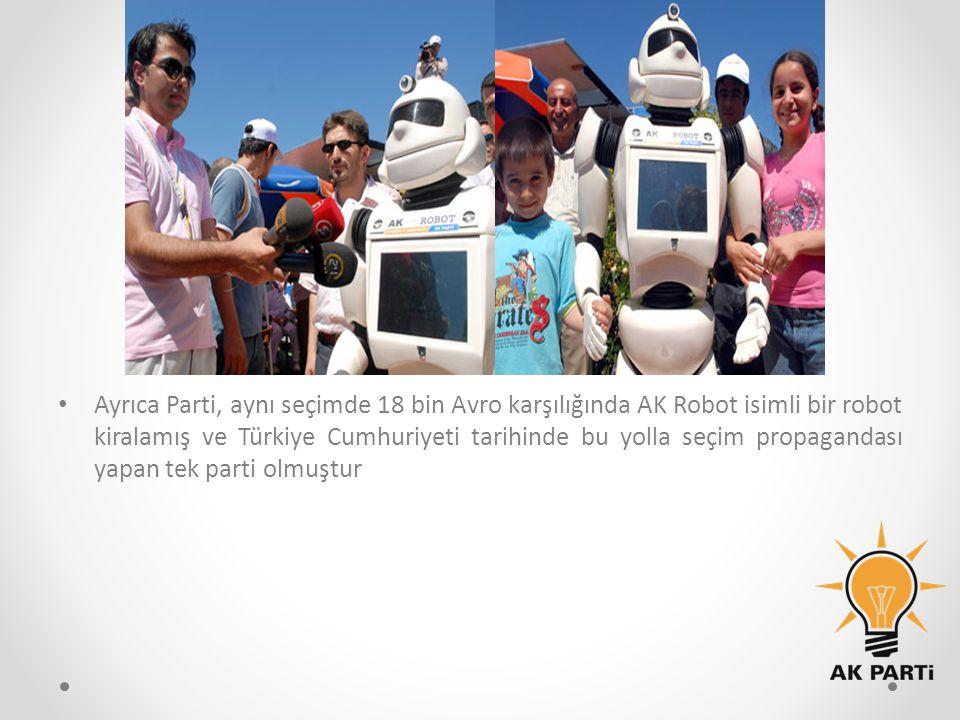 Ayrıca Parti, aynı seçimde 18 bin Avro karşılığında AK Robot isimli bir robot kiralamış ve Türkiye Cumhuriyeti tarihinde bu yolla seçim propagandası yapan tek parti olmuştur