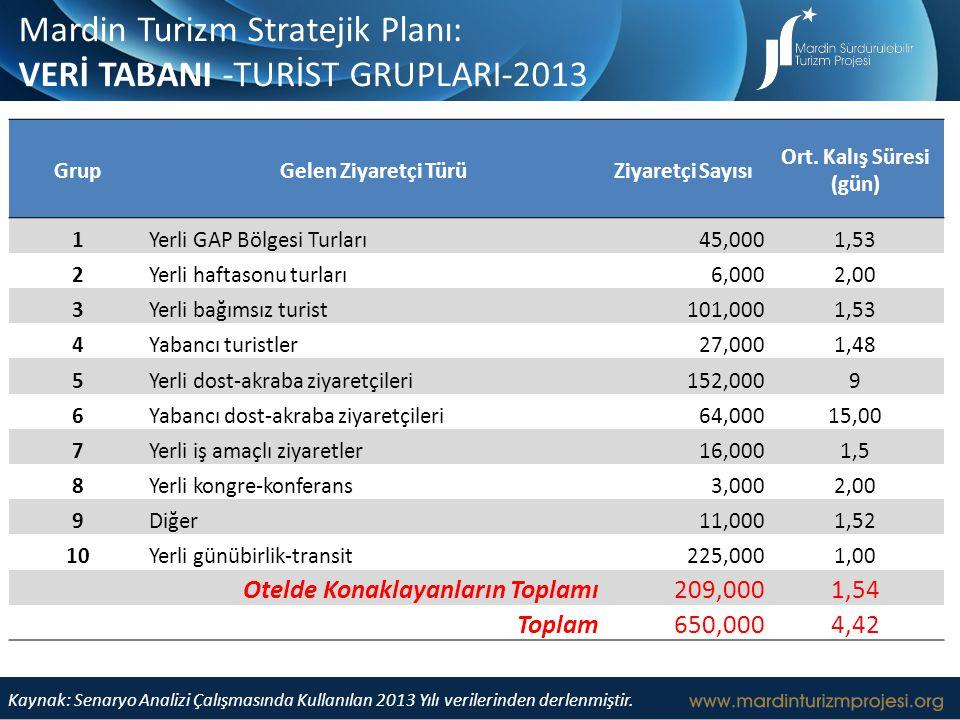 Mardin Turizm Stratejik Planı: VERİ TABANI -TURİST GRUPLARI-2013