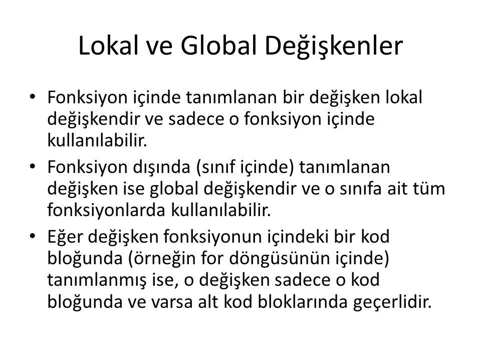 Lokal ve Global Değişkenler