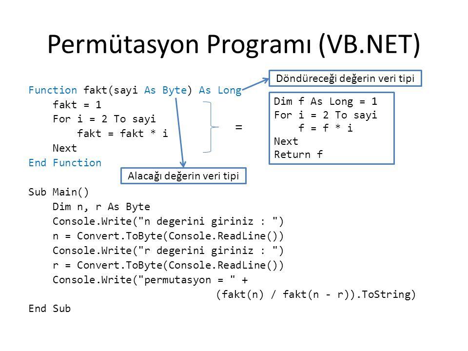 Permütasyon Programı (VB.NET)