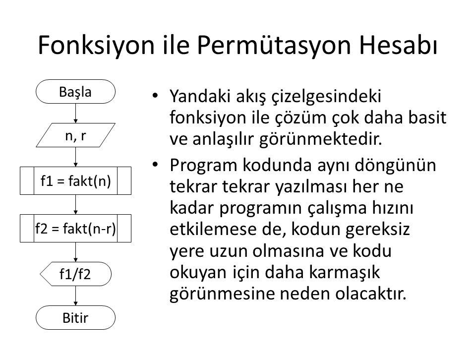 Fonksiyon ile Permütasyon Hesabı
