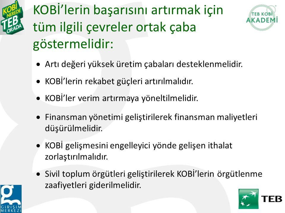KOBİ'lerin başarısını artırmak için tüm ilgili çevreler ortak çaba göstermelidir: