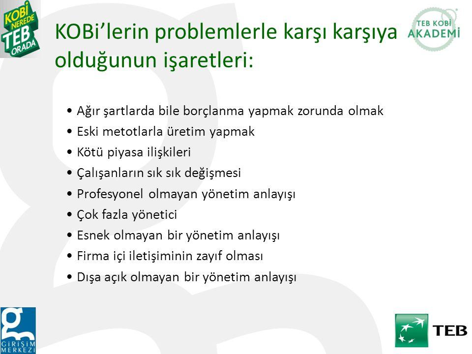 KOBi'lerin problemlerle karşı karşıya olduğunun işaretleri:
